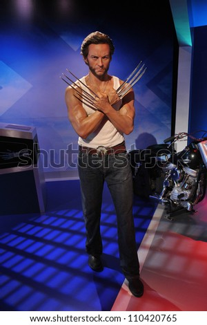 LOS ANGELES, CA - JULY 21, 2009: Hugh Jackman waxwork figure - grand opening of Madame Tussauds Hollywood. - stock photo