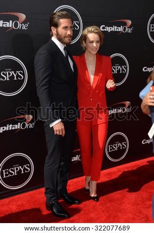 LOS ANGELES, CA - JULY 15, 2015: Jake Gyllenhaal & Rachel McAdams at the 2015 ESPY Awards at the Microsoft Theatre LA Live. - stock photo