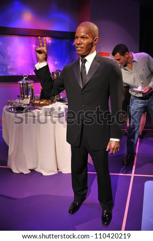 LOS ANGELES, CA - JULY 21, 2009: Jamie Foxx waxwork figure - grand opening of Madame Tussauds Hollywood. - stock photo
