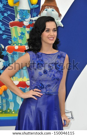 "LOS ANGELES, CA - JULY 28, 2013: Katy Perry at the Los Angeles premiere of her movie ""The Smurfs 2"" at the Regency Village Theatre, Westwood.  - stock photo"
