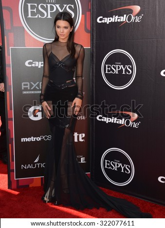 LOS ANGELES, CA - JULY 15, 2015: Kendall Jenner at the 2015 ESPY Awards at the Microsoft Theatre LA Live. - stock photo