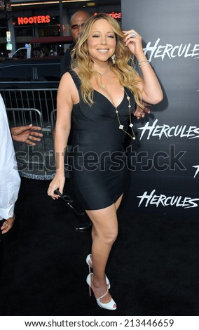 "LOS ANGELES, CA - JULY 23, 2014: Mariah Carey at the premiere of ""Hercules"" at the TCL Chinese Theatre, Hollywood.  - stock photo"