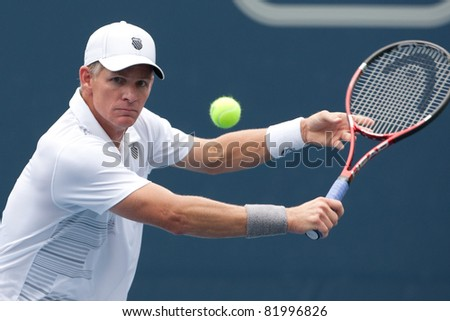 LOS ANGELES, CA. - JULY 31: Mark Knowles (BAH) in action during the 2011 Farmers Classic doubles finals on July 31 2011 in Los Angeles.