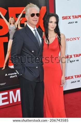 "LOS ANGELES, CA - JULY 10, 2014: Matthew Modine & daughter Ruby Wylder Rivera Modine at the world premiere of ""Sex Tape"" at the Regency Village Theatre, Westwood.  - stock photo"