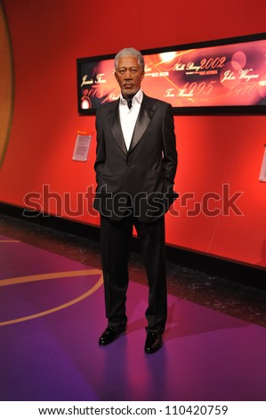 LOS ANGELES, CA - JULY 21, 2009: Morgan Freeman waxwork figure - grand opening of Madame Tussauds Hollywood. - stock photo