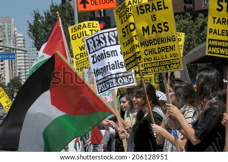LOS ANGELES, CA  JULY 20,2014: Palestinian activists protest Israeli military action in Gaza. - stock photo