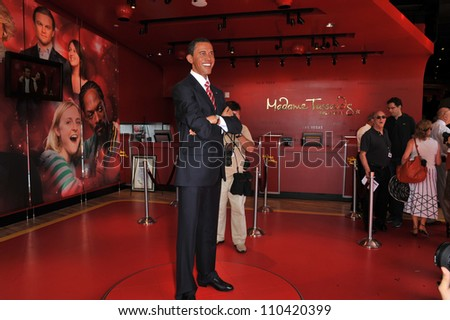 LOS ANGELES, CA - JULY 21, 2009: President Barack Obama waxwork figure - grand opening of Madame Tussauds Hollywood. - stock photo