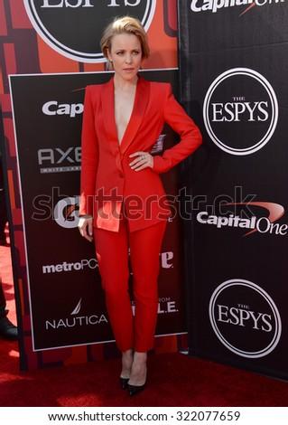 LOS ANGELES, CA - JULY 15, 2015: Rachel McAdams at the 2015 ESPY Awards at the Microsoft Theatre LA Live. - stock photo