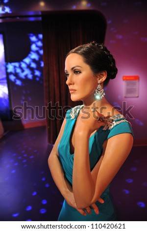 LOS ANGELES, CA - JULY 21, 2009: Salma Hayek waxwork figure - grand opening of Madame Tussauds Hollywood. - stock photo