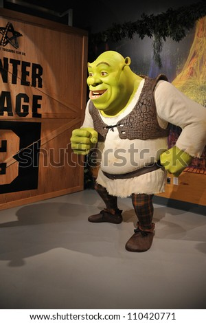 LOS ANGELES, CA - JULY 21, 2009: Shrek waxwork figure - grand opening of Madame Tussauds Hollywood. - stock photo