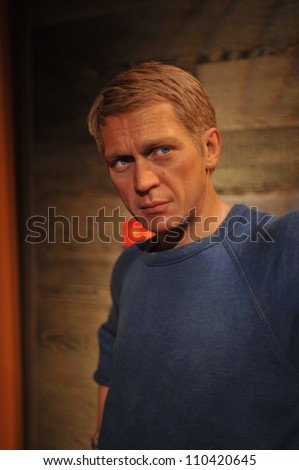 LOS ANGELES, CA - JULY 21, 2009: Steve McQueen waxwork figure - grand opening of Madame Tussauds Hollywood. - stock photo
