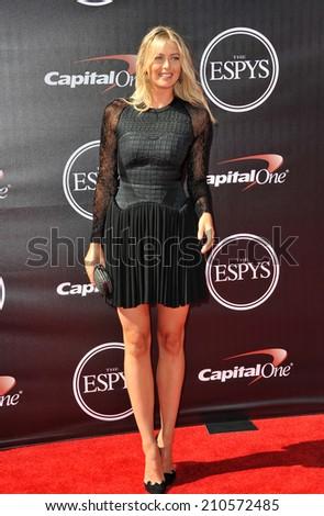 LOS ANGELES, CA - JULY 16, 2014: Tennis star Maria Sharapova at the 2014 ESPY Awards at the Nokia Theatre LA Live.  - stock photo