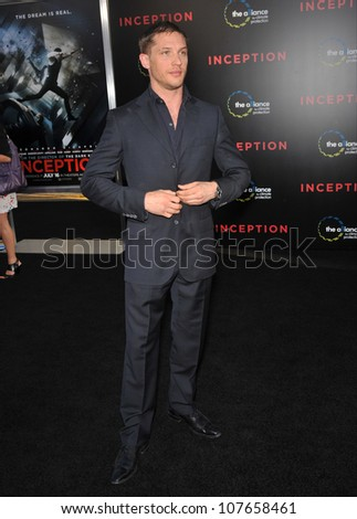 """LOS ANGELES, CA - JULY 13, 2010: Tom Hardy at the Los Angeles premiere of his new movie """"Inception"""" at Grauman's Chinese Theatre, Hollywood. - stock photo"""