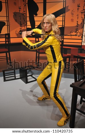 LOS ANGELES, CA - JULY 21, 2009: Uma Thurman waxwork figure - grand opening of Madame Tussauds Hollywood. - stock photo