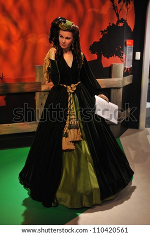 LOS ANGELES, CA - JULY 21, 2009: Vivian Leigh waxwork figure - grand opening of Madame Tussauds Hollywood. - stock photo