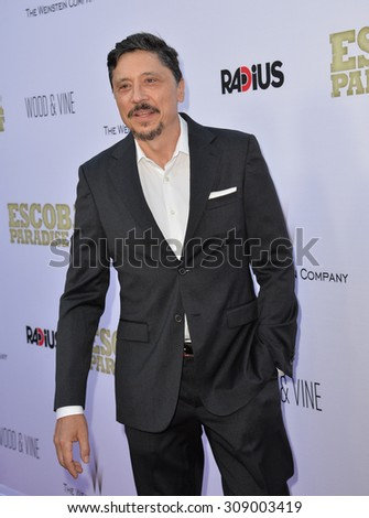 """LOS ANGELES, CA - JUNE 22, 2015: Actor Carlos Bardem at the Los Angeles premiere of his movie """"Escobar: Paradise Lost"""" at the Arclight Theatre, Hollywood.   - stock photo"""