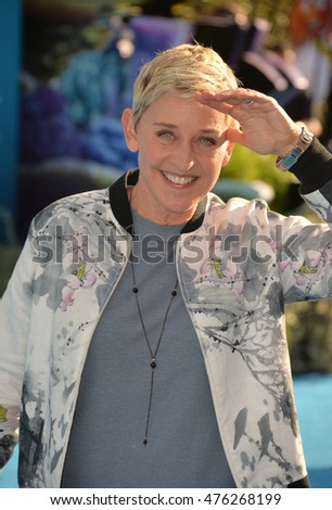 "LOS ANGELES, CA. June 8, 2016: Actress Ellen DeGeneres at the world premiere for ""Finding Dory"" at the El Capitan Theatre, Hollywood."