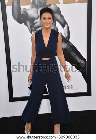 "LOS ANGELES, CA - JUNE 25, 2015: Actress Emmanuelle Chriqui at the world premiere of ""Magic Mike XXL"" at the TCL Chinese Theatre, Hollywood.  - stock photo"