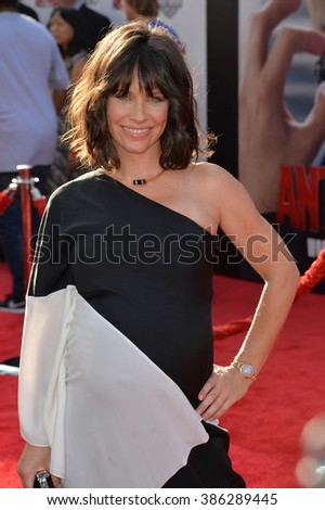 """LOS ANGELES, CA - JUNE 29, 2015: Actress Evangeline Lilly at the world premiere of her movie """"Ant-Man"""" at the Dolby Theatre, Hollywood. - stock photo"""
