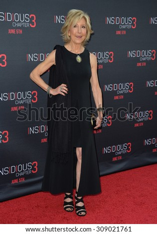 LOS ANGELES, CA - JUNE 5, 2015: Actress Lin Shaye at the world premiere of her movie Insidious Chapter 3 at the TCL Chinese Theatre, Hollywood.  - stock photo