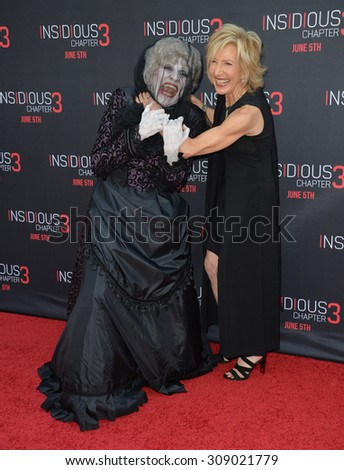 LOS ANGELES, CA - JUNE 5, 2015: Actress Lin Shaye & The Black Bride at the world premiere of her movie Insidious Chapter 3 at the TCL Chinese Theatre, Hollywood.  - stock photo
