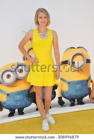 "LOS ANGELES, CA - JUNE 27, 2015: Actress Ryan Simpkins at the Los Angeles premiere of ""Minions"" at the Shrine Auditorium.  - stock photo"