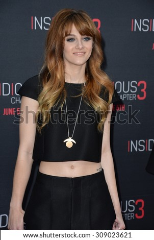 LOS ANGELES, CA - JUNE 5, 2015: Actress/singer Aubrey Peeples at the world premiere of Insidious Chapter 3 at the TCL Chinese Theatre, Hollywood.  - stock photo