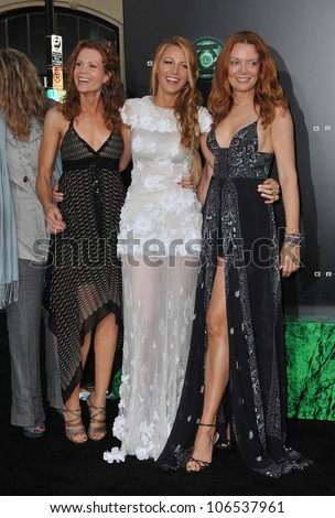 "LOS ANGELES, CA - JUNE 15, 2011: Blake Lively & sisters at the world premiere of her new movie ""Green Lantern"" at Grauman's Chinese Theatre, Hollywood. June 15, 2011  Los Angeles, CA - stock photo"