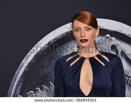 "LOS ANGELES, CA - JUNE 10, 2015: Bryce Dallas Howard at the world premiere of her movie ""Jurassic World"" at the Dolby Theatre, Hollywood. - stock photo"
