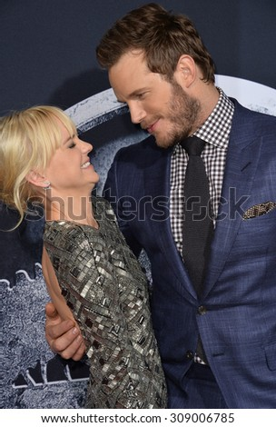 "LOS ANGELES, CA - JUNE 10, 2015: Chris Pratt & wife Anna Faris at the world premiere of his movie ""Jurassic World"" at the Dolby Theatre, Hollywood.  - stock photo"
