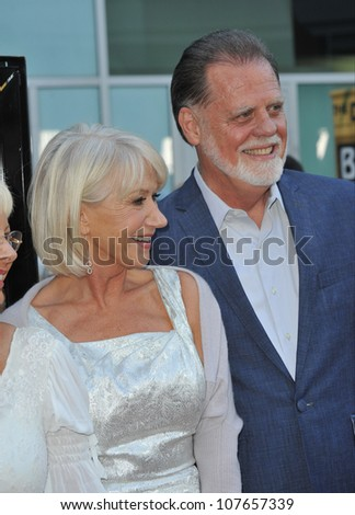 "LOS ANGELES, CA - JUNE 23, 2010: Dame Helen Mirren with husband, director Taylor Hackford at the Los Angeles premiere of their new movie ""Love Ranch"" at the Arclight Theatre, Hollywood."