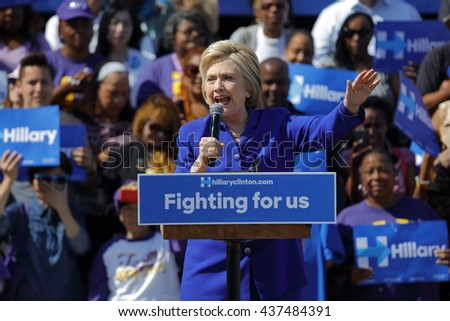 LOS ANGELES, CA - JUNE 6, 2016 - Democratic presidential candidate Hillary Clinton Speaks at a Get Out The Vote rally in Leimert Park Village Plaza a day before the California Primary