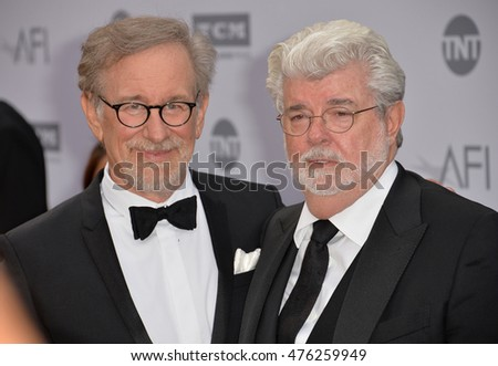 LOS ANGELES, CA. June 9, 2016: Directors Steven Spielberg & George Lucas at the 2016 American Film Institute Life Achievement Award gala honoring John Williams at the Dolby Theatre, Hollywood.
