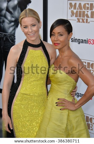 "LOS ANGELES, CA - JUNE 25, 2015: Elizabeth Banks & Jada Pinkett Smith at the world premiere of their movie ""Magic Mike XXL"" at the TCL Chinese Theatre, Hollywood. - stock photo"