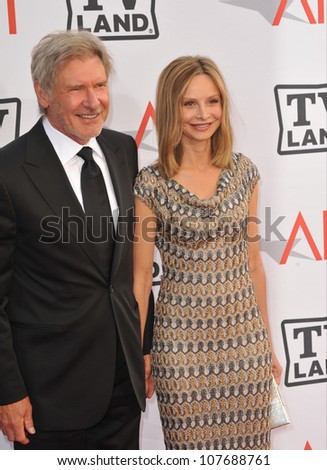 LOS ANGELES, CA - JUNE 10, 2010: Harrison Ford & Calista Flockhart at the 2010 AFI Life achievement Award Gala, honoring director Mike Nichols, at Sony Studios, Culver City, CA. - stock photo