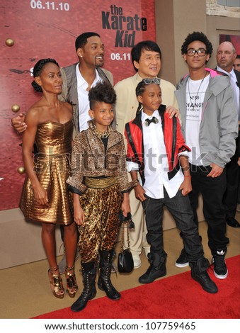 """LOS ANGELES, CA - JUNE 6, 2010: Jackie Chan with Will Smith, Jada Pinkett Smith, Jaden Smith, Willow Smith & Trey Smith at the premiere of  """"The Karate Kid"""" at Mann Village Theatre, Westwood. - stock photo"""