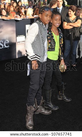 """LOS ANGELES, CA - JUNE 24, 2010: Jaden Smith (left) & Willow Smith, children of Will Smith & Jada Pinkett Smith, at the premiere of """"The Twilight Saga: Eclipse"""" at the Nokia Theatre at L.A. Live - stock photo"""