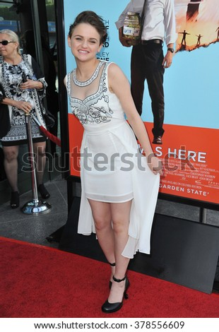 """LOS ANGELES, CA - JUNE 23, 2014: Joey King at the Los Angeles premiere of her movie """"Wish I Was Here"""" at the Directors Guild Theatre. - stock photo"""