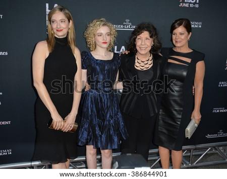 "LOS ANGELES, CA - JUNE 11, 2015: Judy Greer, Julia Garner, Lily Tomlin & Marcia Gay Harden at the premiere of their movie ""Grandma"", at he Los Angeles Film Festival, at the Regal Cinema LA Live. - stock photo"