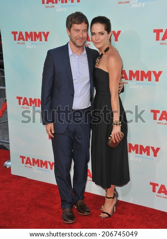 "LOS ANGELES, CA - JUNE 30, 2014: Mark Duplass & wife Katie Aselton at the premiere of his movie ""Tammy"" at the TCL Chinese Theatre, Hollywood.  - stock photo"