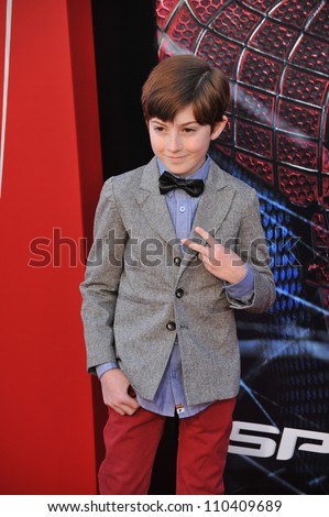 "LOS ANGELES, CA - JUNE 29, 2012: Mason Cook at the world premiere of ""The Amazing Spider-Man"" at Regency Village Theatre, Westwood."