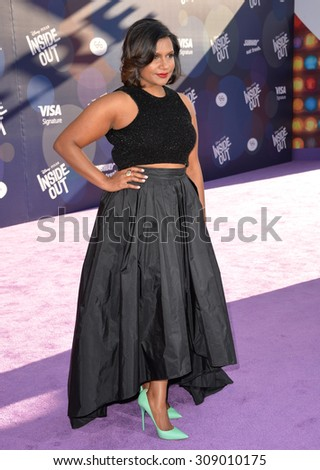 """LOS ANGELES, CA - JUNE 9, 2015: Mindy Kaling at the Los Angeles premiere of her movie Disney-Pixar's """"Inside Out"""" at the El Capitan Theatre, Hollywood.  - stock photo"""