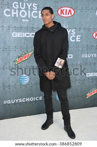 LOS ANGELES, CA - JUNE 7, 2015: NBA star Jordan Clarkson at Spike TV's 2015 Guys Choice Awards at Sony Studios, Culver City. - stock photo