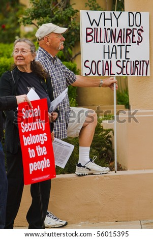 LOS ANGELES, CA-JUNE 24:  Protesters gather outside headquarters of The Western Justice Foundation on June 26, 2010.  Rally was organized to protest against Social Security and Medicare budget cuts.