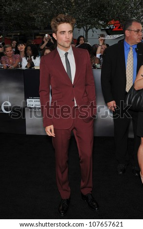 "LOS ANGELES, CA - JUNE 24, 2010: Robert Pattinson at the premiere of his new movie ""The Twilight Saga: Eclipse"" at the Nokia Theatre at L.A. Live. - stock photo"