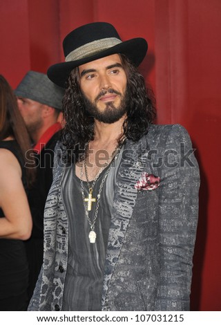 """LOS ANGELES, CA - JUNE 9, 2012: Russell Brand at the world premiere of his new movie """"Rock of Ages"""" at Grauman's Chinese Theatre, Hollywood. June 9, 2012  Los Angeles, CA - stock photo"""