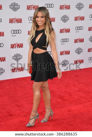 "LOS ANGELES, CA - JUNE 29, 2015: Singer Jessi Malay at the world premiere of ""Ant-Man"" at the Dolby Theatre, Hollywood."