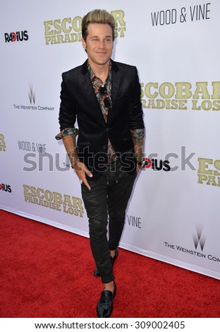 """LOS ANGELES, CA - JUNE 22, 2015: Singer Ryan Cabrera at the Los Angeles premiere of """"Escobar: Paradise Lost"""" at the Arclight Theatre, Hollywood.   - stock photo"""