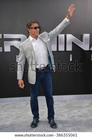 "LOS ANGELES, CA - JUNE 28, 2015: Sylvester Stallone at the Los Angeles premiere of ""Terminator Genisys"" at the Dolby Theatre, Hollywood."