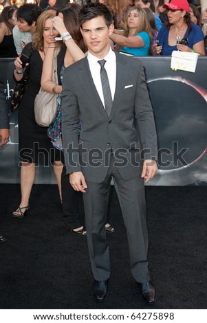 LOS ANGELES, CA. - JUNE 24: Taylor Lautner attends The Twilight Saga Eclipse Los Angeles premiere on June 24th, 2010 at The Nokia Theater in Los Angeles, Ca. - stock photo